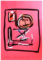 """""""Selbstbildnis 2"""" / WVZ 1.925 / datiert Boddin, 13.02.99 / diverse Farben auf blauem bzw. rotem Papier / Maße b 29,7 cm * h 42,0 cm"""