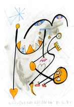 """""""Scheiß-Nacht-Nicht-Schlaf-Bild"""" / WVZ 3.219 / datiert 6.11.00 / Bleistift, Asche, Filzstift, Tusche auf Papier / Maße b 21,0 cm * h 29,7 cm"""