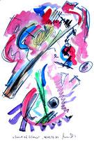 """""""Sound of Selence"""" / WVZ 983 / datiert 08.05.96 / Filzstift, Kohle, Aquarellfarben auf Papier / b 36,0 cm * h 48,0 cm"""