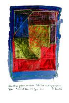 """""""Nun schweiget doch ihr Winde. Ich habe Euch gefangen im Grün."""" / Werkverzeichnis 3.727 / datiert Torre del Mar, 27. Juni 2004 / Aquarell, Plusterfarbe und gekratzte Kreide auf Papier / Maße b 32,7 cm * h 46,2 cm"""