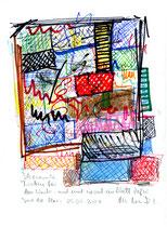 """""""Ich sammle Farben für den Winter - und mal sie auf ein Blatt Papier."""" / Werkverzeichnis 3.720 / datiert Torre del Mar, 05.05.2004 / Filzstift, Buntstift, Tusche und Kreide auf Papier / Maße b 21,0 cm * h 29,7 cm"""