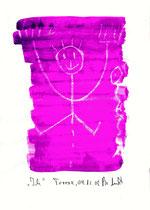 """""""Ich"""" / Torrox, 04.12.08 / Originalgrafik als Zeichnung mit Ölkreide und Aquarell auf Papier / b 21,0 cm * h 29,7 cm / Werkverzeichnis 3.827"""