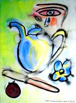 """""""Stillleben Tränenkanne"""" Gestringen, 08/92, Werkverzeichnis 309, Aquarell auf Papier, b 30,0 cm * h 40,0 cm"""