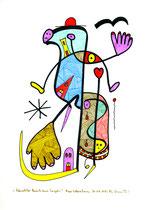 """""""Männlicher Bereich eines Engels"""" / Werkverzeichnis 2.007 / datiert Bad Sobernheim am 30.04.99 / Farbzeichnung Textilfarbe und Filzstift auf Papier / Maße b 21,0 cm * h 29,7 cm"""