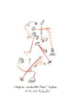 Begreifen - aus dem Roten heraus! Originalgrafik. Größe b 21,0 cm * h 29,7 cm. Sayalonga, 19.06.2013. Buntstift, Filz- und Bleistift auf Papier. Werkverzeichnis 4136.