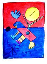 """Poseidons Griff zur Sonne"" - hier Arbeit 2 WVZ 1.217 / 29.12.96 / Kohle und Aquarell auf Papier / b 30,0 cm * h 40,0 cm"