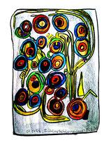 """Frühling Schlangenbad"" / WVZ 1.575 / datiert 07.04.98, Kohle, Ölkreide, Aquarell auf Papier, Maße b 29,4 cm * h 42,0 cm"