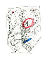 """""""Spitzhutträger"""", WVZ 1.093 / 08.11.96 / Kohle und Filzstift auf Papier / Größe b 24,0 cm * 32,0 cm"""