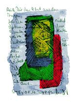 """""""Reiß Dir das Blut aus den Augen"""" / Sprechbild vom 08.10.2008 mit Ölkreide, Tusche und Text auf Papier / B 14,7 cm * H 21,0 cm / Werkverzeichnis 3.797"""