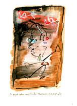 """""""Es regnet Katzen und Fische"""" / WVZ 2.995 / Bad Saarow, 19.07.00 / Aquarell und Tusche auf Papier / Maße 21,0 cm * h 29,7 cm"""