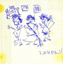"""Zeichnung im Restaurant """"Cortijo"""" in Stuttgart / """"o.T."""" / WVZ 1.740 Kugelschreiberzeichnung auf Serviette, b 19,6 cm * 20,0 cm"""