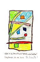 """""""Kühl ist der Abendhauch (Gedanken an freie Diensttage)"""" Sayalonga, 05.08.2013. Originalgrafik. Größe b 21,0 cm * h 29,7 cm. Bleistift, Textilfarben und Kreide auf Papier. Werkverzeichnis 4157."""