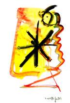 """""""o. T."""" 8 / Werkverzeichnis 1.688 / datiert 20.08.98 / Tusche und Aquarell auf Papier / Maße b 30,0 cm * h 42,0 cm"""