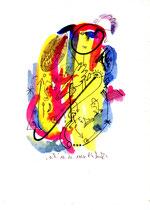 """""""o. T."""" 1, WVZ 1.036 / datiert 10.10.96, Tinte und Filzstift auf Papier, Maße b 18,0 cm * h 24,0cm"""