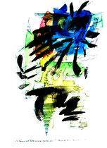 """""""Es können auch Frühlingszeiten gewesen sein - 2"""" Gestringen, 23.02.1997, Werkverzeichnis 1287, Filzstift und Aquarell auf Papier, b 30,0 cm * h 40,0 cm Als Vergleich ein Sprung von 5 Jahren 2. einer Serie von 4 Bildern"""