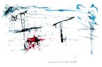 """""""Schneelandschaft"""" Isny, den 21.11.1991 Werkverzeichnis 239 Tusche, Ölkreide und Tinte auf Papier b 40,0 cm * h 30,0 cm"""