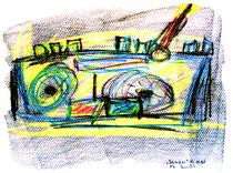 """""""Sender"""" Isny, den 05.11.1991, Werkverzeichnis 196, Kreide und Kohle auf Papier, b 33,0 cm * h 24,0 cm"""