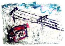 """""""Schneelandschaft II"""" Isny, den 30.11.1991 Werkverzeichnis 252 Tusche, Ölkreide und Tinte auf Papier beschnittenes Blatt von ehemals b 40,0 cm * h 30,0 cm"""