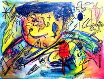 """""""Chinese am Platz des himmlischen Friedens"""" Gestringen, 24.03.1992, Nachträge-Werkverzeichnis, diverse Farben und Tusche auf Papier, b 40,0 cm * h 30,0 cm"""