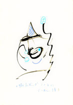Glückliches Kind Originalgrafik. 21.06.2013. Größe b 21,0 cm * h 29,7 cm. Buntstift und Tusche auf Papier. Werkverzeichnis 4142.