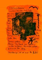 """""""Höfliche Einladungen"""" / Sprechbild vom 08.10.2008 mit Ölkreide, Tusche und Text auf Papier / B 21,0 cm * H 29,7 cm / Werkverzeichnis 3.796"""