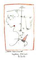 """""""Weltraum = Raum (in) der Welt"""" Originalgrafik. S., 19.06.2013. Größe b 21,0 cm * h 29,7 cm. Farbzeichnung mit Buntstift, Bleistift und Textilfarbe auf Papier. Werkverzeichnis 4134."""