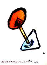 """""""Herzsüden"""" / Werkverzeichnis 1.650 / datiert Bad Sobernheim, 22.07.1998 / Aquarell und Tusche auf Papier / Maße b 36,0 cm * h 48,0 cm"""