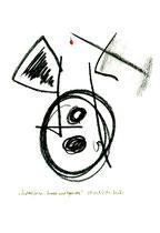 """""""Nadelkissen, Knopf und Garnrolle"""", WVZ 1.095 / 08.11.96 / Kohle und Filzstift auf Papier / Größe b 24,0 cm * 32,0 cm"""