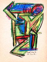 """""""Frosch"""" Werkverzeichnis 1.304 / datiert 09.03.97 / Ölkreide auf Pappe / Maße b 18,0 cm * h 24,0 cm"""