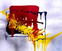 """""""Die Schöpfung"""" Gestringen, im Jahre 1988, Werkverzeichnis 92, Binder- und Ölfarbe, Sprühfarbe auf Papier, b 60,0 cm x h 50,0 cm"""