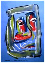 """""""Selbstbildnis 1"""" / WVZ 1.924 / datiert Boddin, 13.02.99 / diverse Farben auf blauem bzw. rotem Papier / Maße b 29,7 cm * h 42,0 cm"""