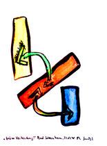 """""""Grüne Verbindungen"""" / Werkverzeichnis 1.653 / datiert Bad Sobernheim, 22.07.1998 / Aquarell und Tusche auf Papier / Maße b 36,0 cm * h 48,0 cm"""