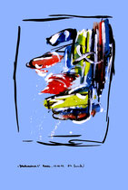 """""""Gedankenausbruch 3"""" / Werkverzeichnis 1.928 / datiert Boddin, 13.02.99 / diverse Farben auf verschiedenfarbigem Papier / Maße b 29,7 cm * h 42,0 cm"""