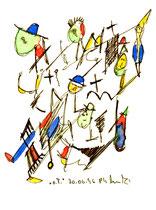 """""""o. T. 1"""" , WVZ 998 / datiert 30.06.96 / Filzstift und Aquarellfarben auf Papier / Maße b 12,0 cm * h 16,0 cm"""