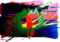 """""""Starfighter"""" Gestringen, 05.07.1988, Werkverzeichnis 105, Öl- und Dispersionsfarben auf Papier, b 70,5 cm x h 50,3 cm"""