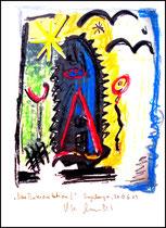 """""""Neue Interpretation I"""" Sayalonga, 30.06.2013. 1 Blatt 1 v. 1 als limitierte Auflage. Handbearbeiteter Druck als """"Limited-fine-art-print-artopus"""", per Hand mit Bleistift + Kreide bearbeitet auf Papier. Größe 21,0 cm * 29,0 cm / WVZ 4151"""