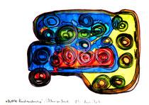 """""""Rundwanderwege Schlangenbad"""" / WVZ 1.574 / datiert 06.04.98, Kohle, Ölkreide, Aquarell und Filzstift auf Papier, Maße b 42,0 cm * h 29,4 cm"""