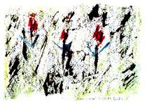 """""""Rosen im Nebel"""" Isny, den 20.11.1991, Werkverzeichnis 237, Tusche, Ölkreide und Tinte auf Papier, b 40,0 cm * h 30,0 cm"""