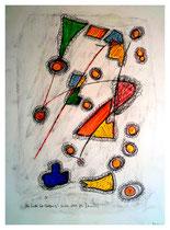 """""""Am Ende ist Hoffnung I"""" WVZ 470, vom 20.02.1995. Grafit, Aquarell, Goldlack, Filzstift auf Papier. Größe 30,0 cm * h 40,0 cm"""