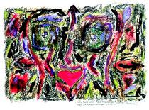 """""""Fritz Funk in den Mauern seiner Zeit"""" Oder: """"Himmelsrichtungen"""" Isny, den 03.12.1991, Werkverzeichnis 255, Tusche, Tinten, Filzstift und Ölkreide auf Papier, b 40,0 cm x h 30,0 cm"""