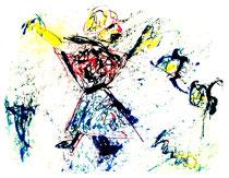 """""""Die Tänzerin"""" Isny, den 19.11.1991, Werkverzeichnis 214, Tusche, Tinte und Ölkreide auf Papier, b 40,0 cm * h 30,0 cm"""