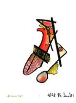 """""""Abstürzender Vogel"""" / WVZ 1.711, datiert 9/98 / Tusche und Aquarell auf Pappe / Maße b 21,0 cm * h 27,6 cm"""