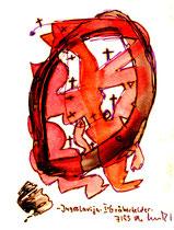 """""""Jugoslavija I - Gräberfelder"""", Werkverzeichnis 541. Datiert 7/95. Filzstift und Aquarell auf Papier. Größe b 11,0 cm * h 15,0 cm."""