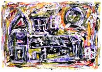 """""""Glaube, Liebe, Hoffnung"""" Isny, den 06.12.1991, Werkverzeichnis 259, Tusche, Tinten und Ölkreide auf Papier, b 40,0 cm x h 30,0 cm"""