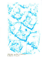 """Hier Platzabrieb 1: """"Platzabrieb - mein Platz in Sobernheim"""" / Werkverzeichnis 3.314 / Datiert Sobernheim, am 02.03.2001 / Platzabrieb mit blauer Öl- bzw. Wachskreide / Maße b 21,0 cm * h 29,7 cm"""