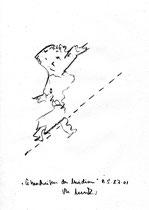 """5. """"Überschreiten des Meridian"""" / datiert 08.07.01 / Bleistift auf Papier / Maße b 21,0 cm * h 29,7 cm / WVZ 3.354"""