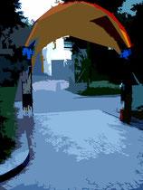 """""""Espelkamp geht durch die Mitte"""" G / Fotoveränderungen der verschiedenen Tore in Espelkamp als Tintenstrahldruck auf Fotopapier / Werkverzeichnis Nachträge / datiert 08.2002 / Maße b 21,0 cm * 29,7 cm"""