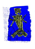 """""""Sprechbild o. T."""" / WVZ 3.717 / datiert Torre del Mar, 28.04.2004 / Ölkreide und Tinte auf Papier / Maße b 21,0 cm * h 29,7 cm"""
