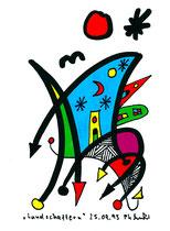 """""""Landschaftern 1"""", WVZ 551, datiert 25.09.1995, Textilfarbe auf Aquarellpapier, b 10,5 cm * h 14,7 cm"""