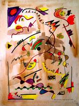 """""""Freiräume Landschaft"""" Gestringen, 08/92, Werkverzeichnis 304, Aquarell und Textilfarbe auf Papier, b 42,0 cm * h 56,0 cm"""